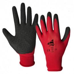 Gants nylon rouge enduit latex noir EN388:2016: 2 1 3 1