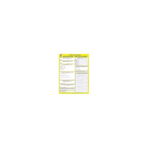Panneau d'affichage obligatoire : code du travail PVC 300 x 420 x 1.5